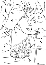 gramma tala from moana disney coloring pages printable