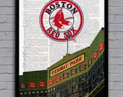 Boston Red Sox Home Decor Red Sox Art Etsy