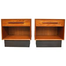 select modern pair of westnofa teak and black leather nightstands