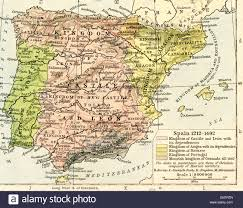 Majorca Spain Map Map Of Spain 1212 1492 Showing Kingdom Of Castile And León With