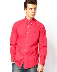 polo ralph lauren shirt in poplin bright pink slim fit in pink for