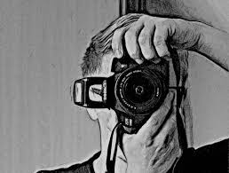 black and white drawing of a man with a camera in the form of a