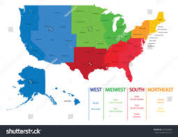 Montana Map Usa by Map Us Regions Maps Usa Stock Vector 354532898 Shutterstock