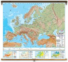 Latitude Map Advanced Europe Physical Classroom Map On Spring Roller