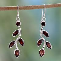 garnet earrings garnet and sterling silver earrings indian jewelry scarlet