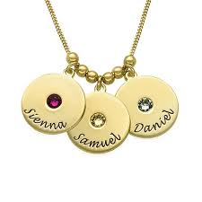 birthstone mothers necklace engraved disc and birthstone mothers necklace with be