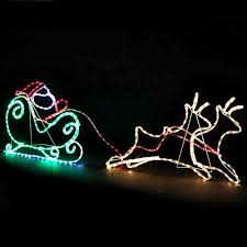 santa reindeer sleight large rope light silhouette outdoor
