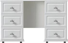 White Double Pedestal Dressing Table Ready Assembled Oakland - Oakland bedroom furniture