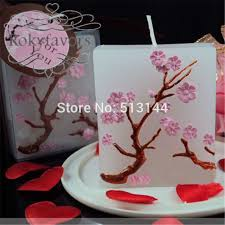 candle party favors free shipping 100pcs pink cherry blossom candle party favors
