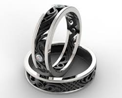 black wedding sets his and hers matching wedding band set vidar jewelry unique