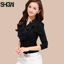 Black Blouses For Work Aliexpress Com Buy Cute Blouses Korean Women Autumn Spring