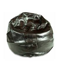 leather look bean bag chair black 90cm regular size comfortable