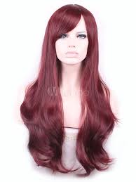 body wave hairstyle pictures burgundy long wigs body wave curls tousled women s synthetic wig