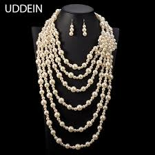 long necklace pearl images Buy uddein exaggerate long necklace for women jpg