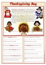 thanksgiving day reading comprehension editable