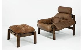 leather chair and ottoman by percival lafer now specially reduced