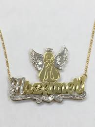 name plates necklaces gold gold overlay name plate necklace 3d personalized angel