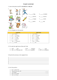 english worksheet to be