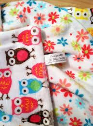 owl minky baby blanket white flower pink orange blue brown owls