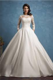 wedding dress with pockets gown illusion neckline sleeve lace satin wedding dress