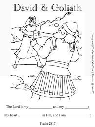 david and goliath coloring page psalm 28 7 fill in memory verse