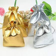 gold favor bags vintage style gold silver color wedding party banquet candy gift