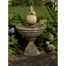 Ceramic Garden Spheres Fountain With Frog Mid Height