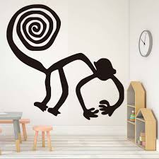 abstract swirl tail monkey wall decals for kids bedroom black