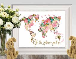 World Map Poster Large Oh The Places You U0027ll Go Large Floral World Map Print Pink