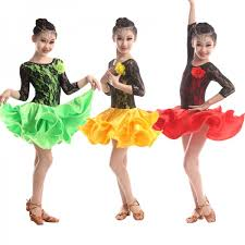 kids samba green dress for sleeve kids cha cha