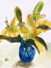 blue lilies yellow lilies in blue vase original watercolor painting by angela