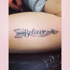 cute arrow with word believe tattoo on arm my style pinterest