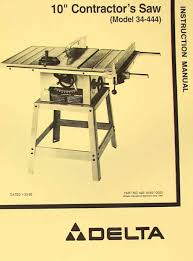 powermatic table saw model 63 delta 10 contractor s table saw 34 444 instructions parts manual