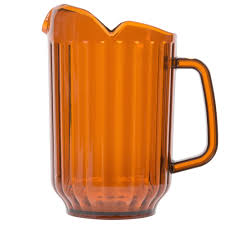 choice 60 oz amber san plastic beverage pitcher with 3 spouts
