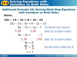 solving equations on both sides with variables jennarocca examples