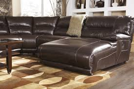 Ashley Furniture Microfiber Sectional Exhilaration Chocolate 6 Pc Reclining Sectional