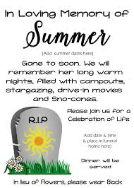 Funeral Invitation Sample Funeral For Summer Activity Free Time Frolics