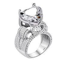 rings love heart images Uloveido platinum plated big love heart cubic zirconia wide jpg