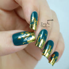 distressed gold nail foil design with tutorial временная