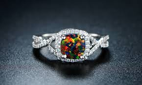black opal engagement rings 4 00 ctw lab created black opal engagement ring groupon