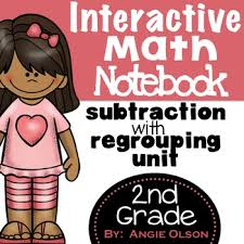 subtraction with regrouping second grade math notebook by lucky
