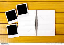 blank photo album photo album polaroid frame photo prints blank copy space stock