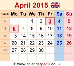 calendar april 2015 uk bank holidays excel pdf word templates