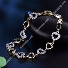 crystal link bracelet images Romantic lovely heart bracelets bangles ladies gold platinum jpg