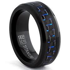 black titanium rings black titanium wedding band ring with black and blue carbon fiber