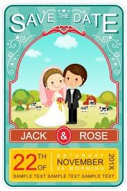 invitation card cartoon design cute cartoon style wedding invitation card vector free vector in
