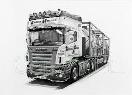 drawn truck scania pencil and in color drawn truck scania