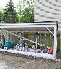 How To Build A Easy Storage Shed by Diy Backyard Bike Storage With An Easy To Install Roof Refresh