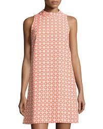 pattern a line shift dress tahari asl jacquard mock neck shift dress orange pattern