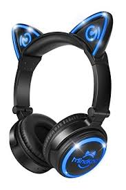 light up cat headphones cat headphones teckepic wireless headphones with led amazon co uk